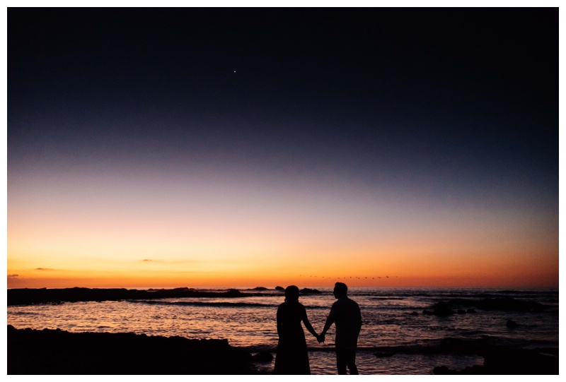 Bride and groom at sunset in Costa Rica. Photographed by Kristen M. Brown, Samba to the Sea Photography.