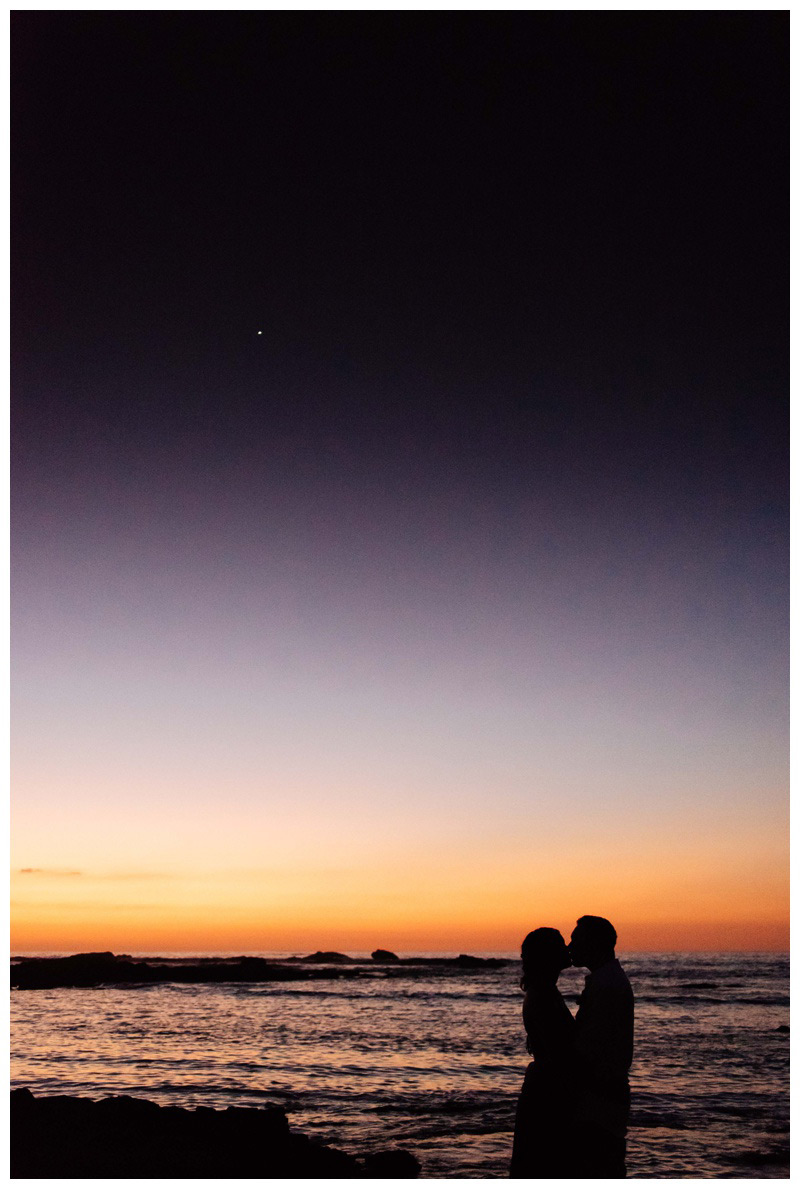 Silhouette of couple kissing during a gorgeous sunset in Costa Rica. Photographed by Kristen M. Brown, Samba to the Sea Photography.