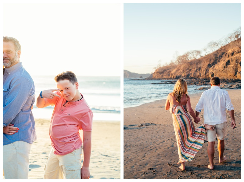 Fooling around during family photos in Playa Hermosa, Costa Rica. Photographed by Kristen M. Brown, Samba to the Sea Photography.