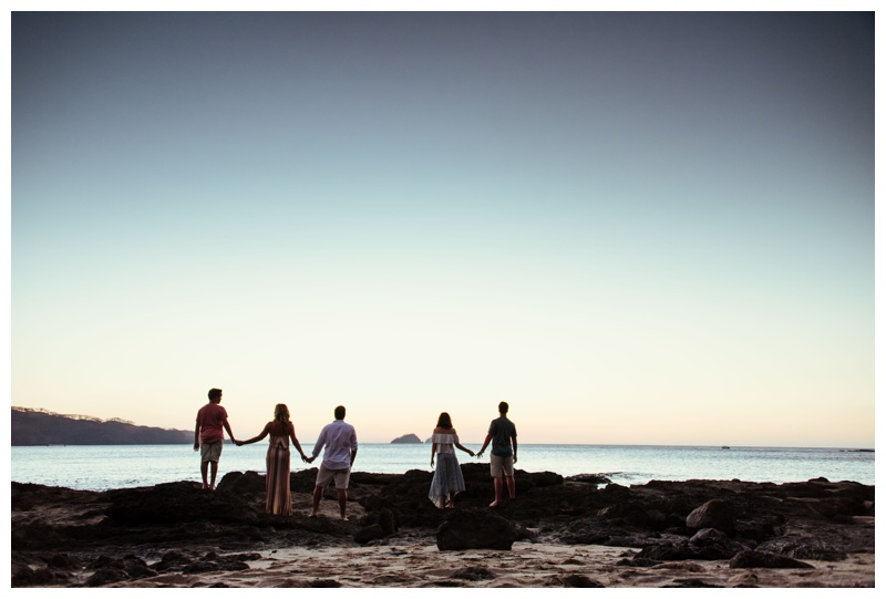 Family photos during sunset in Playa Hermosa, Costa Rica. Photographed by Kristen M. Brown, Samba to the Sea Photography.