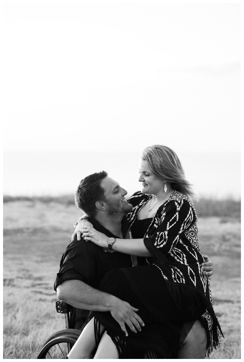 Black and white image of husband and wife during anniversary photos in Tamarindo, Costa Rica. Photographed by Kristen M. Brown, Samba to the Sea Photography.