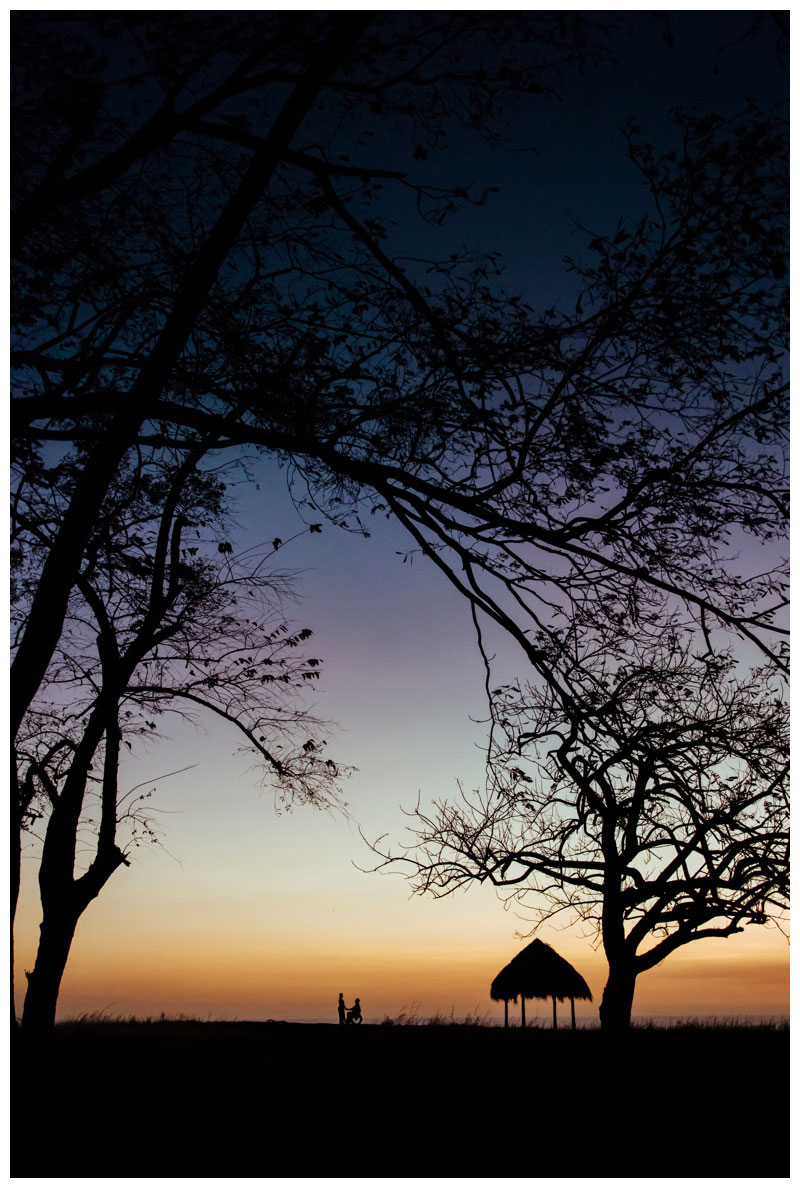 Tamarindo sunset silhouette at the look on the hill. Photographed by Kristen M. Brown, Samba to the Sea Photography.