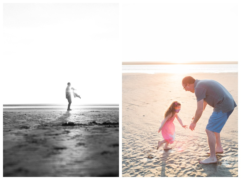 Father and daughter playing on the beach in Tamarindo, Costa Rica. Photographed by Kristen M. Brown, Samba to the Sea Photography.