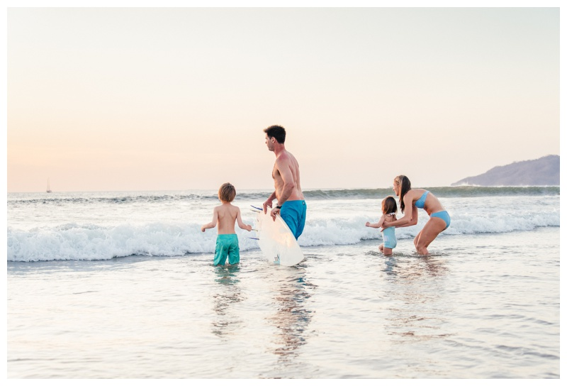 Surfing family photos in Tamarindo, Costa Rica. Photographed by Kristen M. Brown, Samba to the Sea Photography.
