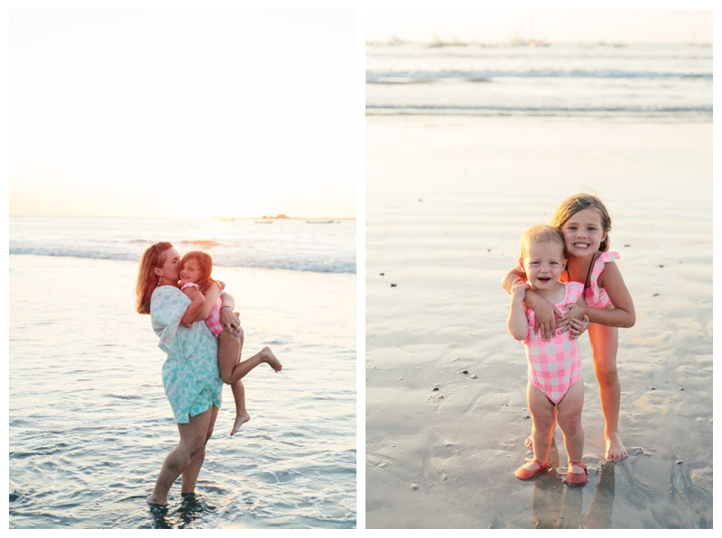 Mom and young daughters playing on the beach in Tamarindo, Costa Rica. Photographed by Kristen M. Brown, Samba to the Sea Photography.