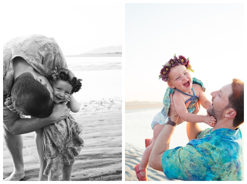 Father and young daughter on the beach in Tamarindo, Costa Rica. Photographed by Kristen M. Brown, Samba to the Sea Photography.