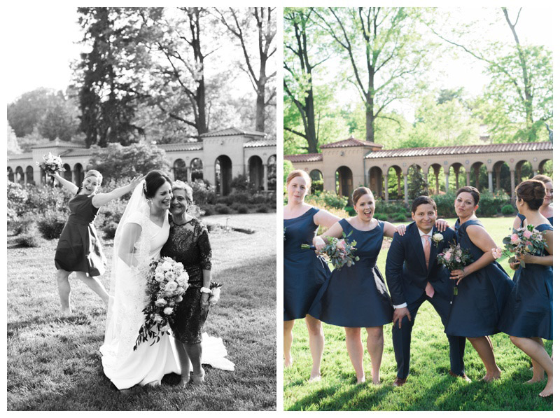 Bridal party photos in the gardens at St. Francis Monastery. Photographed by Kristen M. Brown, Samba to the Sea Photography.