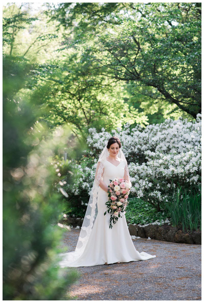Bridal portrait in the gardens of St. Francis Monastery in Washington DC. Photographed by Kristen M. Brown, Samba to the Sea Photography.