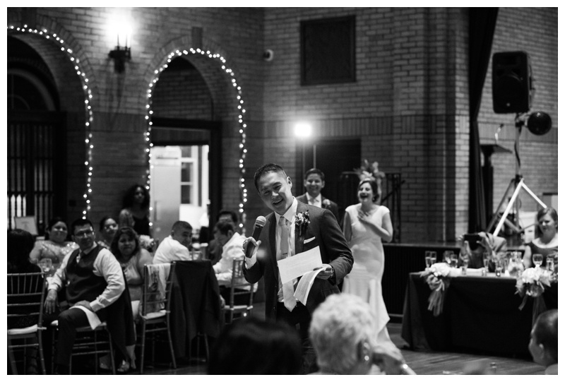 Best man speech at St. Francis Hall. Photographed by Kristen M. Brown, Samba to the Sea Photography.