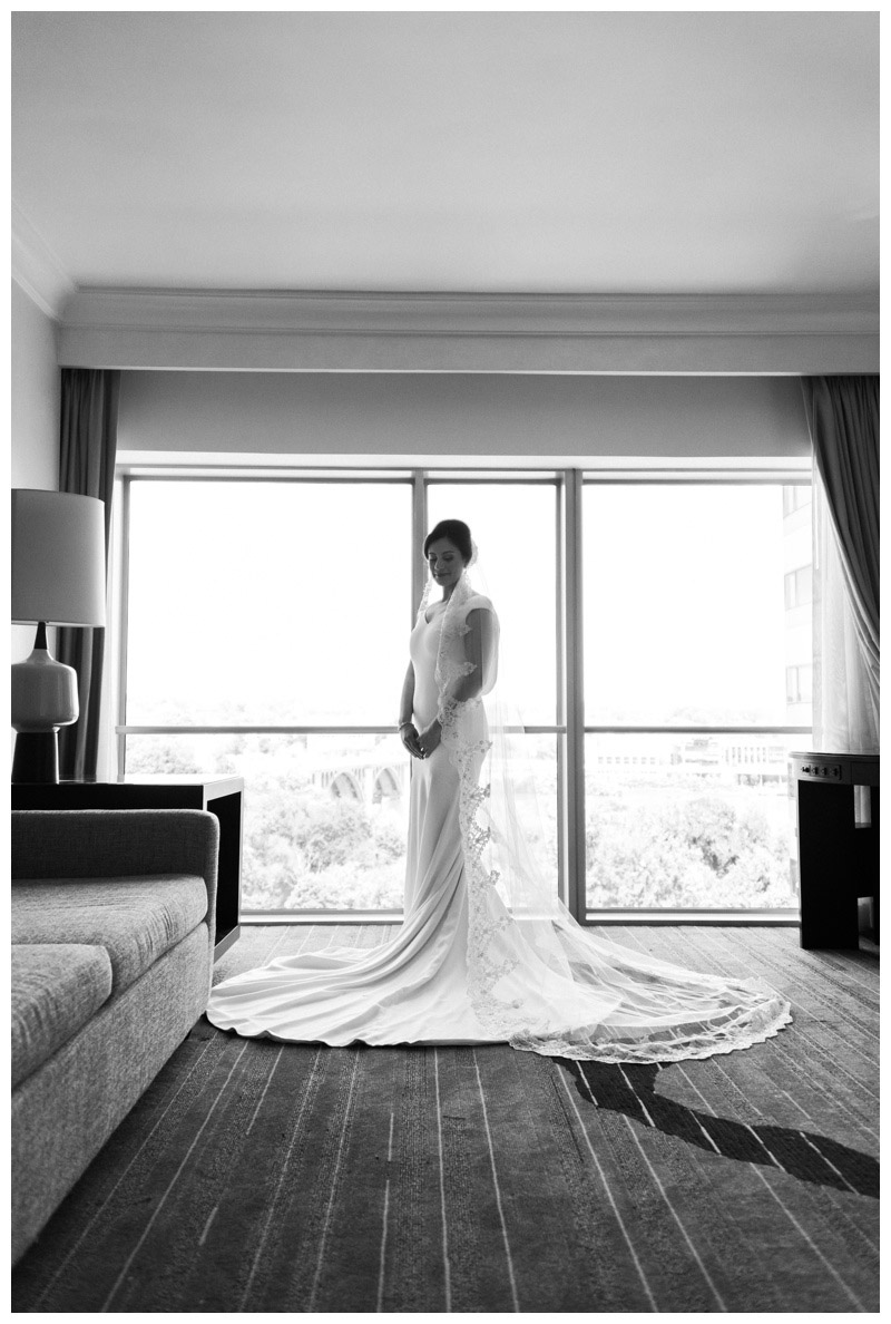 Black and white bridal portrait at Le Meridien in Arlington, VA. Photographed by Kristen M. Brown, Samba to the Sea Photography.