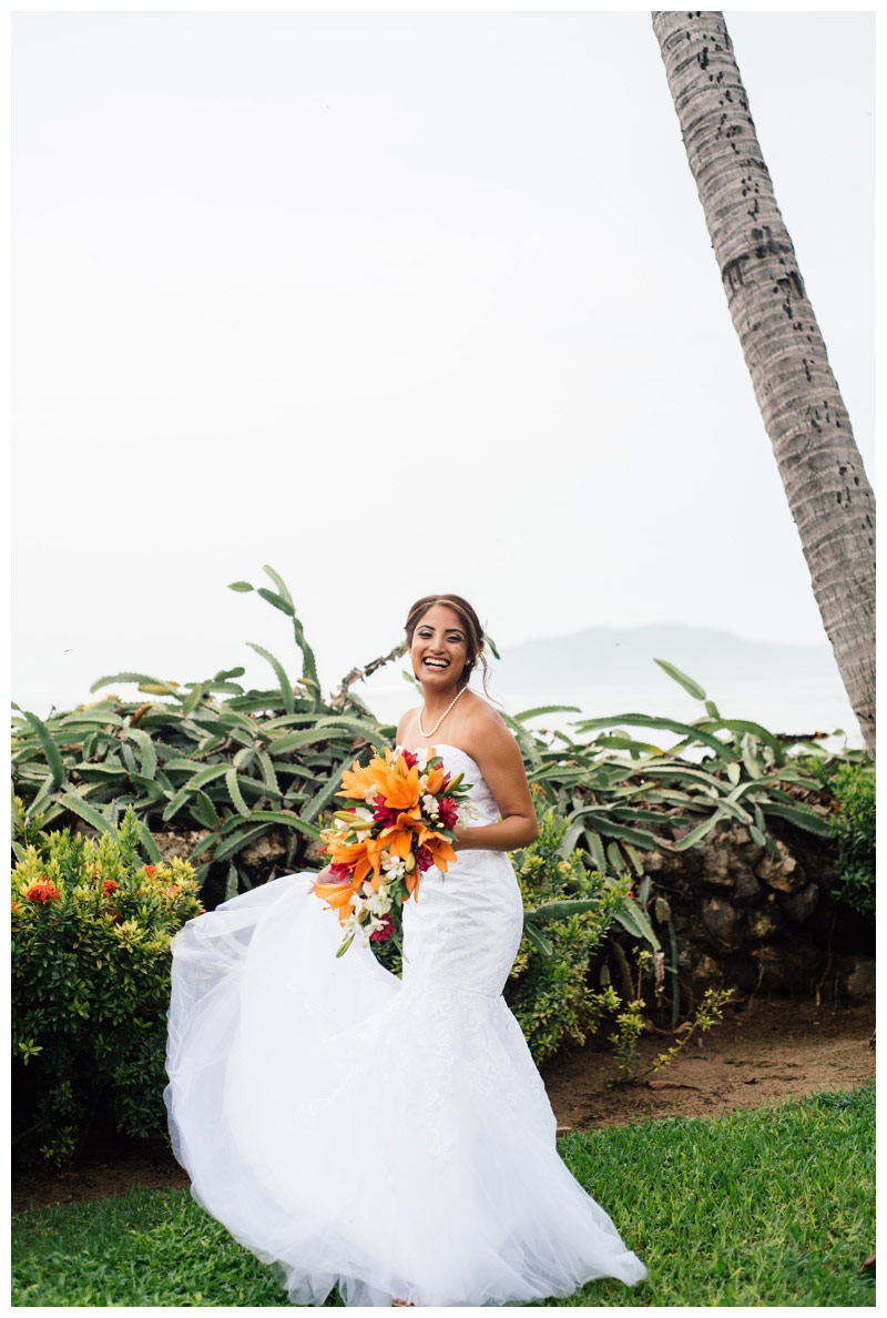 Bridal portrait in Tamarindo, Costa Rica. Photographed by Kristen M. Brown, Samba to the Sea Photography.