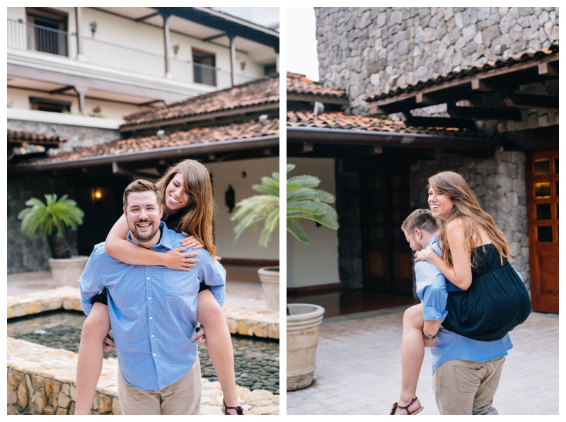 Engagement photos at the JW Marriott Guanacaste, Costa Rica. Boyfriend giving his fiancé a piggyback ride. Photographed by Kristen M. Brown, Samba to the Sea Photography.