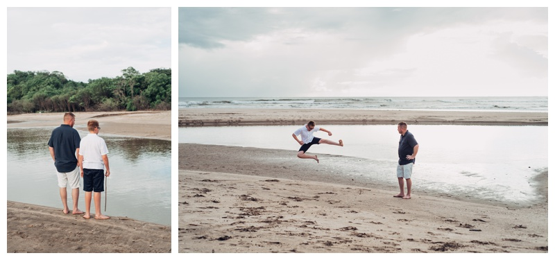 Father and son on the beach in Tamarindo Costa Rica. Photographed by Kristen M. Brown, Samba to the Sea Photography.
