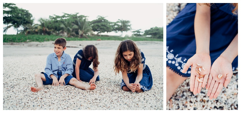 Siblings looking for sea shells at Playa Avellanas Costa Rica. Photographed by Kristen M. Brown, Samba to the Sea Photography.
