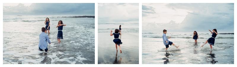 Siblings playing in the ocean at Playa Avellanas Hacienda Pinilla Costa Rica. Photographed by Kristen M. Brown, Samba to the Sea Photography.