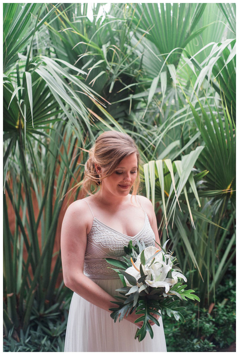 Bridal portrait at tropical wedding in Costa Rica. Bride is wearing an Adrienna Papell wedding dress.Photographed by Kristen M. Brown, Samba to the Sea Photography.