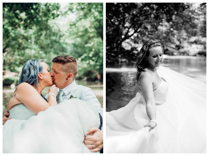 Intimate Costa Rica waterfall elopement. Bride is wearing a Disney Wedding Dress by Alfred Angelo. Photographed by Kristen M. Brown, Samba to the Sea Photography.