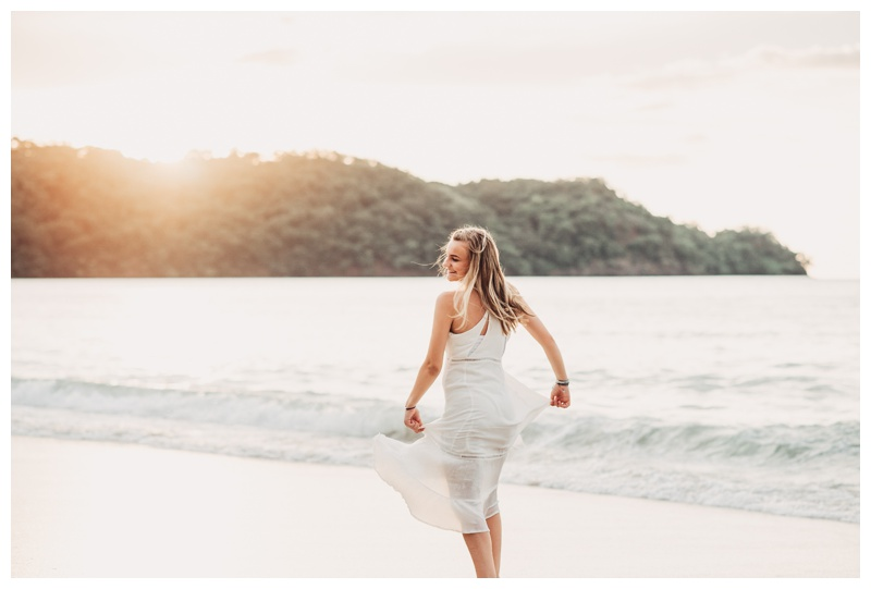 Girl playing on the beach in Playa Conchal Costa Rica. Photographed by Kristen M. Brown, Samba to the Sea Photography.