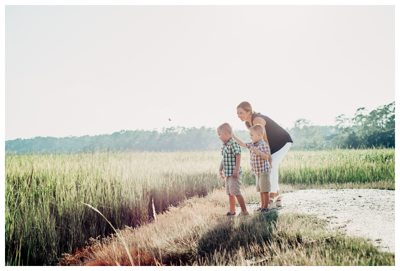 Mother and her twin boys exploring the marsh and shell midden on Skidaway Island in Savannah Georgia. Definitely on of the best places for family photos on Skidaway Island! Photographed by Kristen M. Brown, Samba to the Sea Photography.