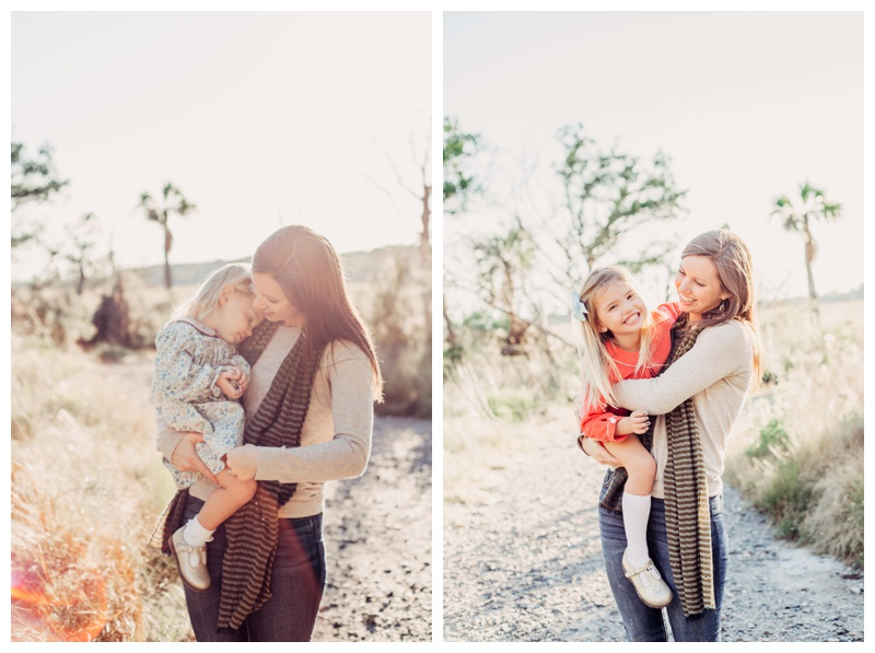 Mother hugging her daughters during family photos. Fall family pictures in Savannah Georgia at The Landings on Skidaway Island. Photographed by Kristen M. Brown, Samba to the Sea Photography.