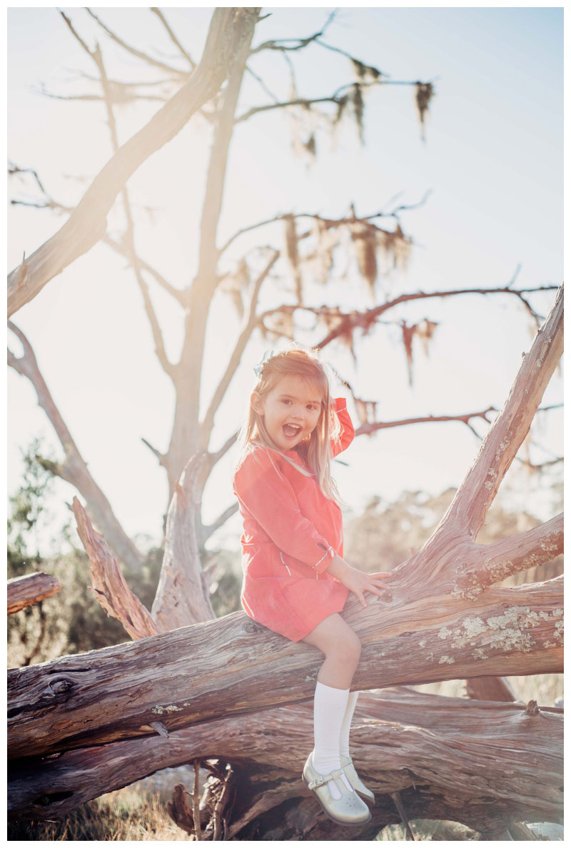 Little girl sitting on a beautiful piece of driftwood in Savannah GA. Fall family pictures in Savannah Georgia at The Landings on Skidaway Island. Photographed by Kristen M. Brown, Samba to the Sea Photography.