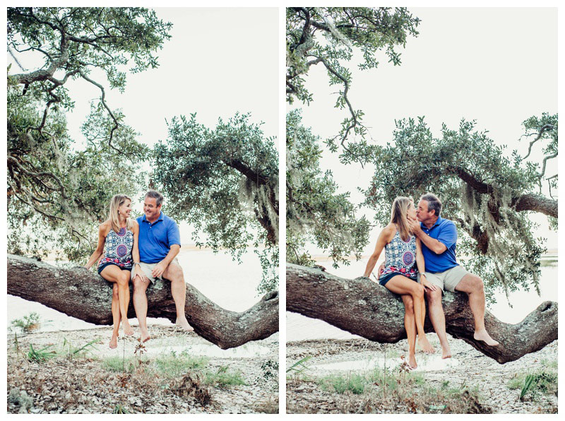 Husband and wife sitting in an oak tree during family photos in Savannah Georgia. Photographed by Kristen M. Brown, Samba to the Sea Photography.
