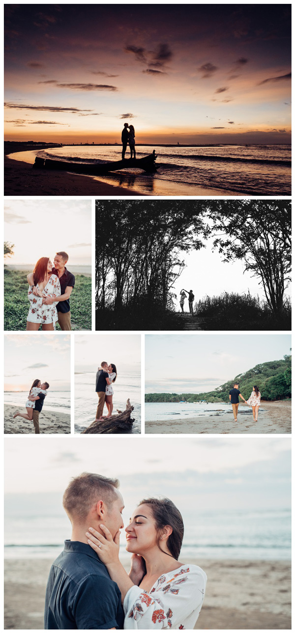 Engagement photos in Tamarindo Costa Rica. Photographed by Kristen M. Brown, Samba to the Sea Photography.