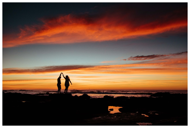 Couple dancing during a beautiful sunset in Costa Rica. Photographed by Kristen M. Brown, Samba to the Sea Photography.