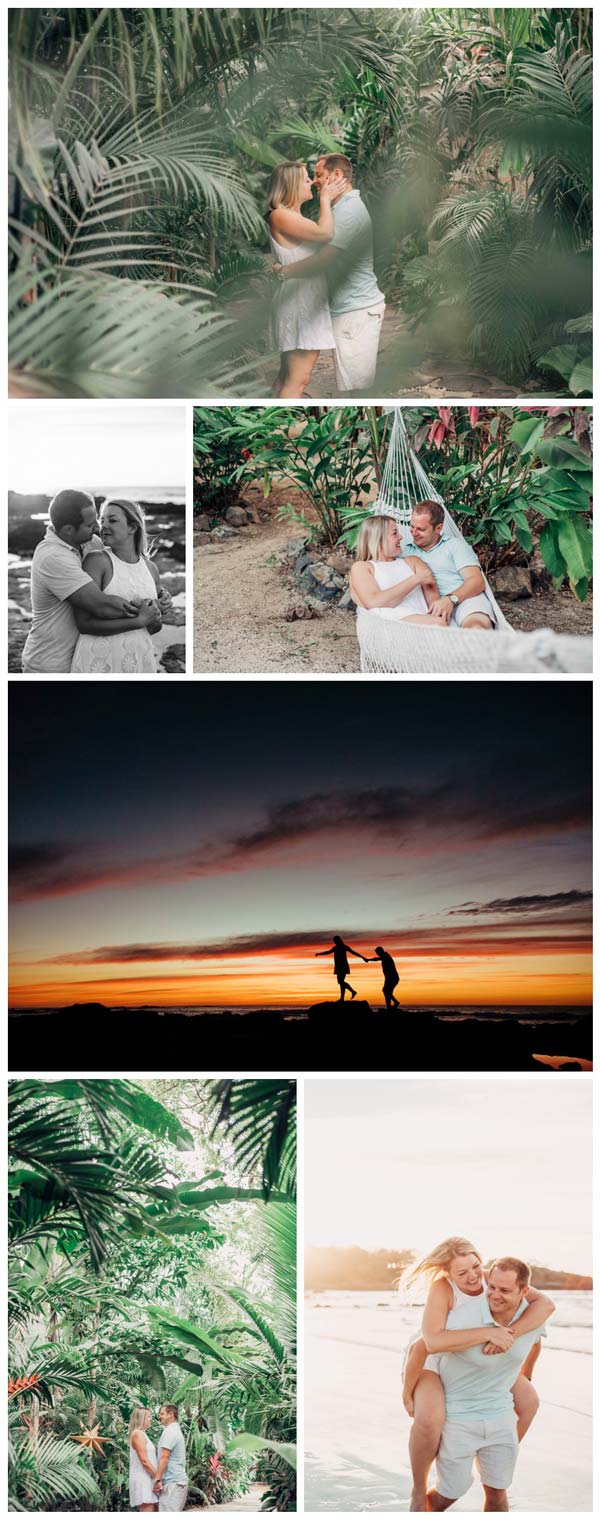 Tropical engagement photos in Tamarindo Costa Rica. Photographed by Kristen M. Brown, Samba to the Sea Photography.