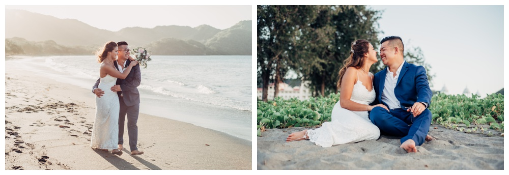 Bride and groom on the beach after their wedding in Costa Rica. Wedding in Guanacaste Costa Rica. Photographed by Kristen M. Brown, Samba to the Sea Photography.