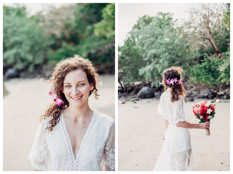 Bride on the beach at the Andaz Papagayo Costa Rica. Magical sailboat elopement in Costa Rica. Photographed by Kristen M. Brown, Samba to the Sea Photography.