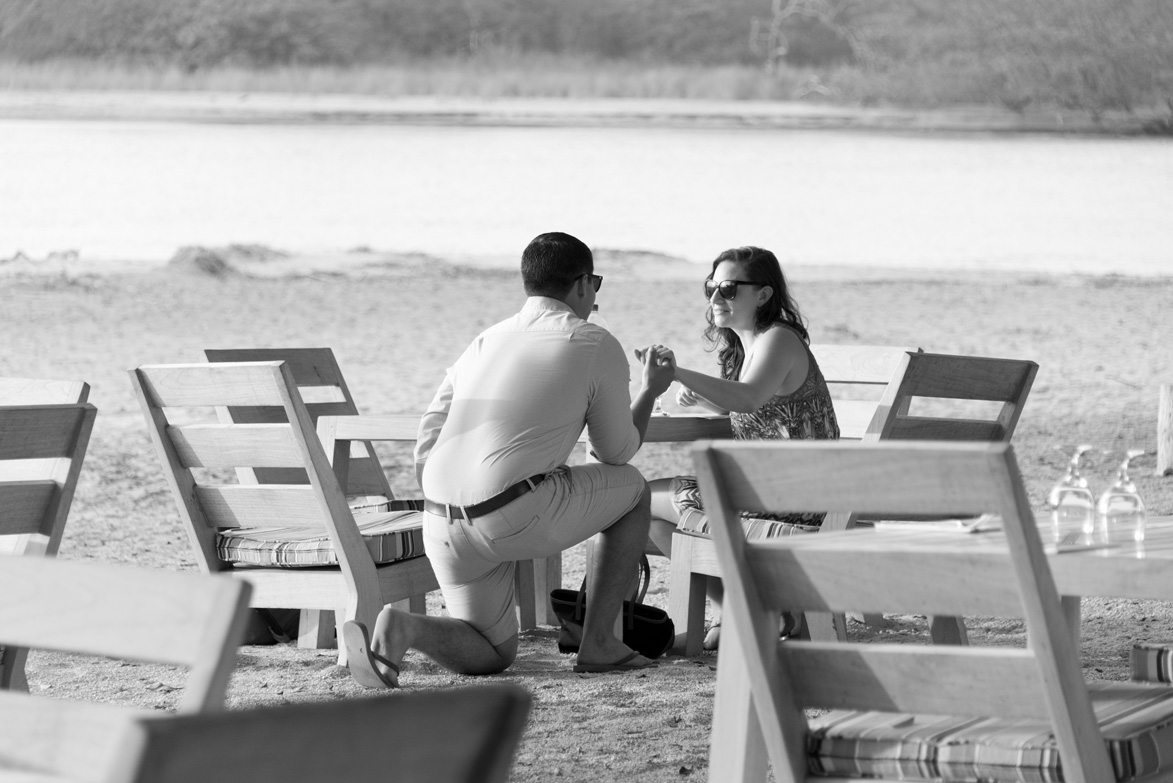 Proposal at Panagas Beach Club Tamarindo Costa Rica. Photographed by Kristen M. Brown, Samba to the Sea Photography.