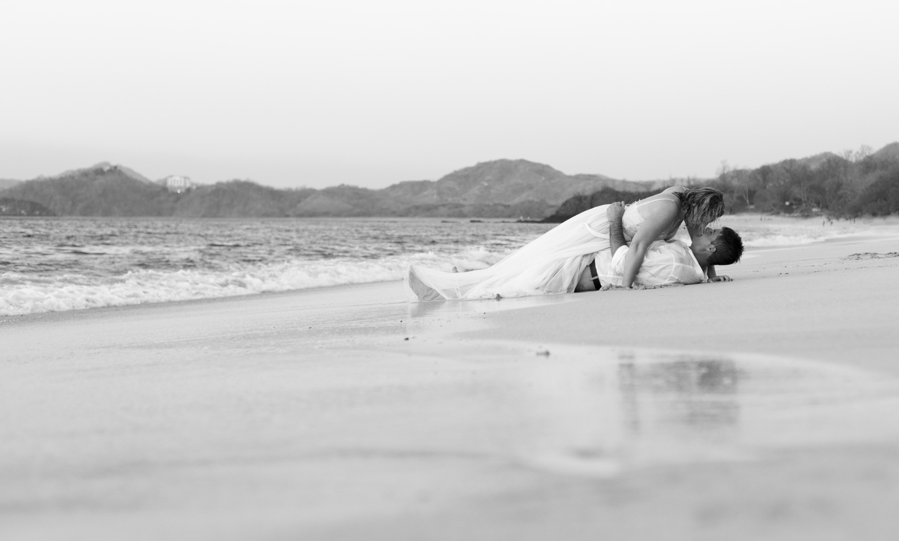 Bride and groom on their Honeymoon at The Westin in Playa Conchal, Costa Rica. Photographed by Kristen M. Brown, Samba to the Sea Photography.