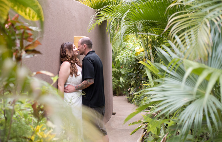 Couple sharing an intimate moment kissing at Cala Luna Boutique Hotel in Playa Langosta, Costa Rica. Photogaphed by Kristen M. Brown, Samba to the Sea Photography.