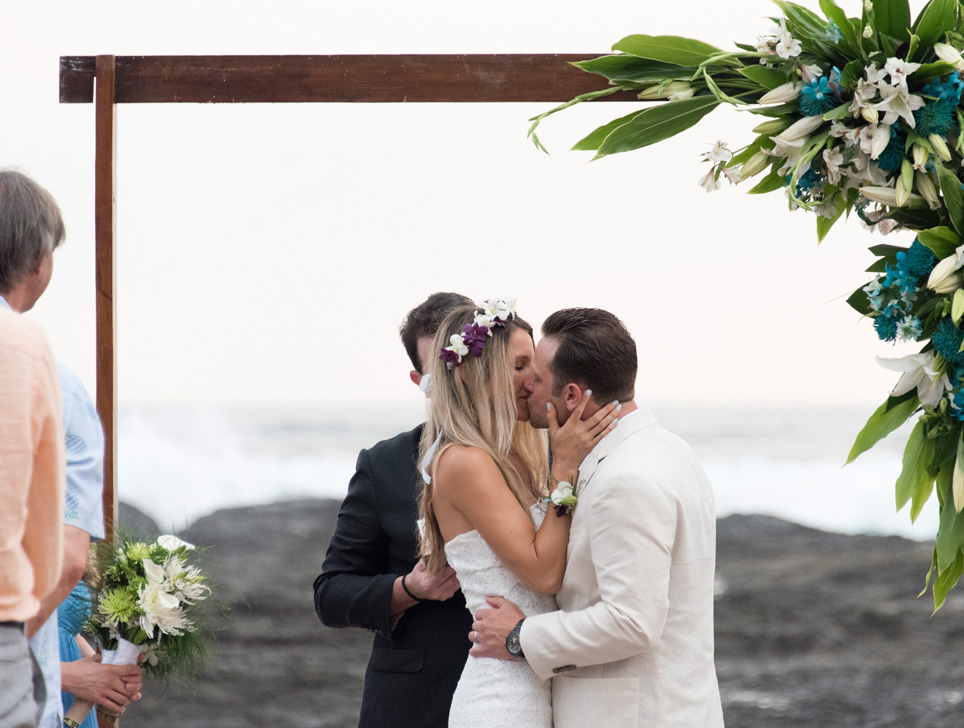 Keeley + Steve's first kiss at Playa Langosta, Costa Rica. Photographed by Kristen M. Brown, Samba to the Sea Photography.