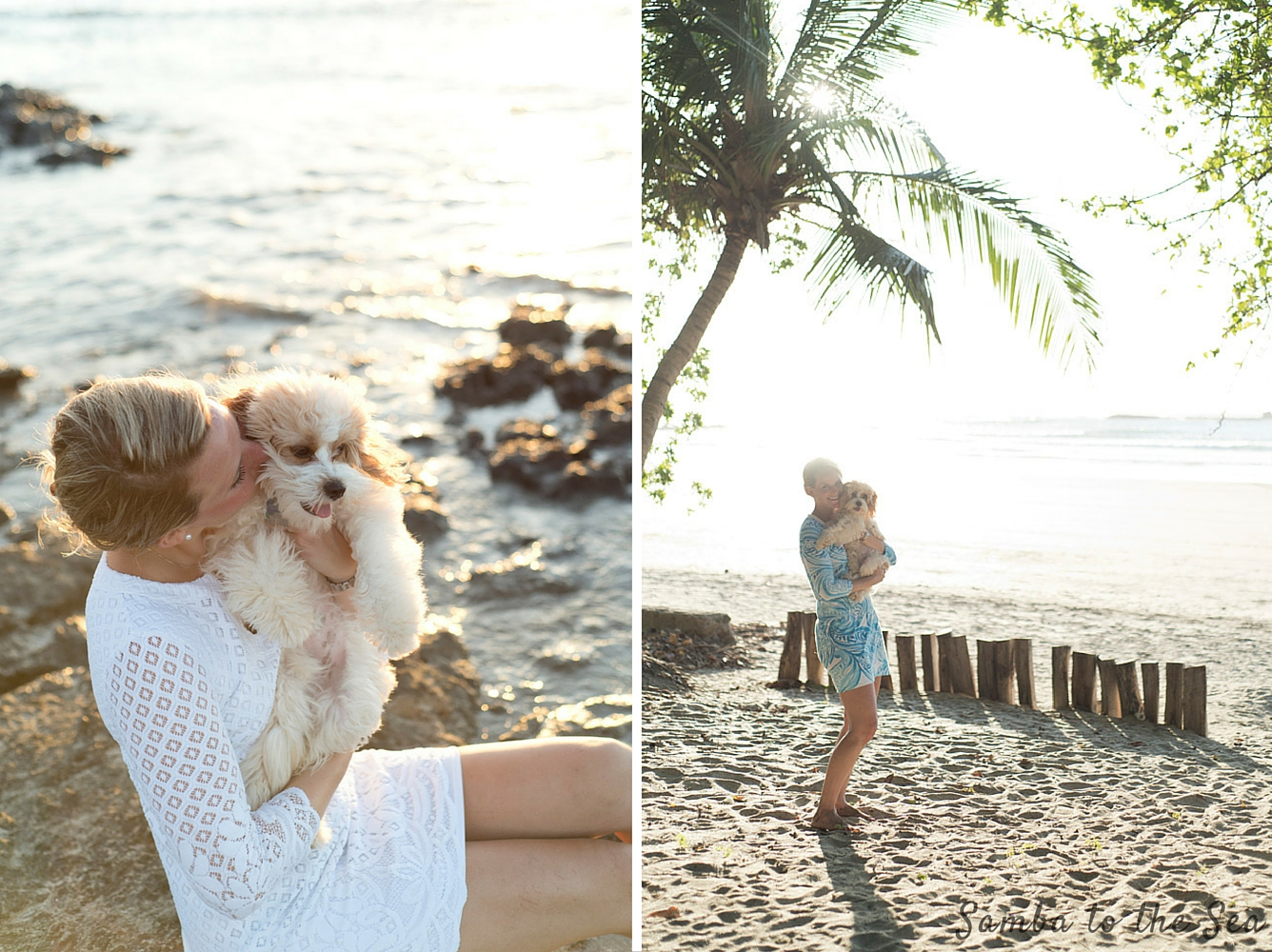 Waffles the Cavapoo and Theresa in Tamarindo Beach, Costa Rica. Theresa is wearing the Lilly Pulitzer Mara Scallop Hem Lace Dress and the Marlina Printed T-Shirt Dress. Photographed by Kristen M. Brown, Samba to the Sea Photography. Photographed by Kristen M. Brown, Samba to the Sea Photography.