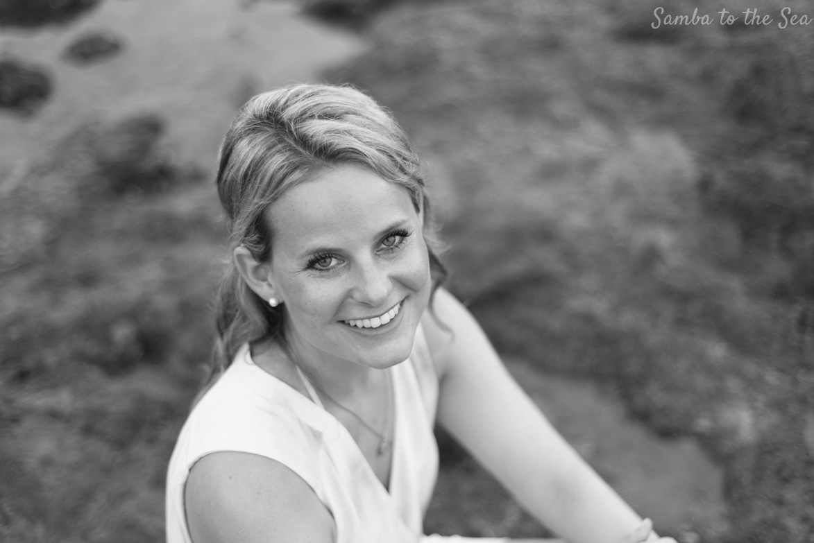 Black and white photo of Theresa in Tamarindo, Costa Rica. Photographed by Kristen M. Brown, Samba to the Sea Photography.