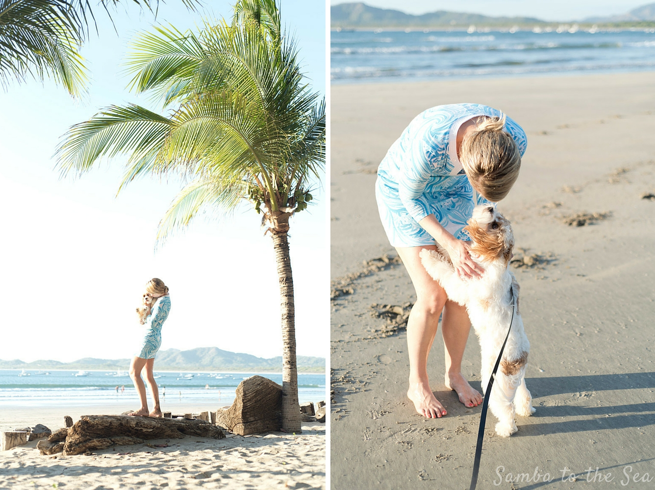 Waffles the Cavapoo and Theresa in Playa Tamarindo, Costa Rica. Theresa is wearing the Lilly Pulitzer Marlina Printed T-Shirt Dress. Photographed by Kristen M. Brown, Samba to the Sea Photography.