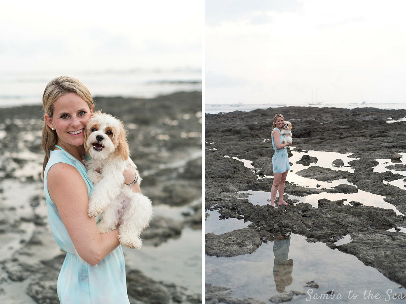 Waffles the Cavapoo and Theresa on the low tide rocks in Tamarindo, Costa Rica. Photographed by Kristen M. Brown, Samba to the Sea Photography. Blue dress is by Parker NYC.