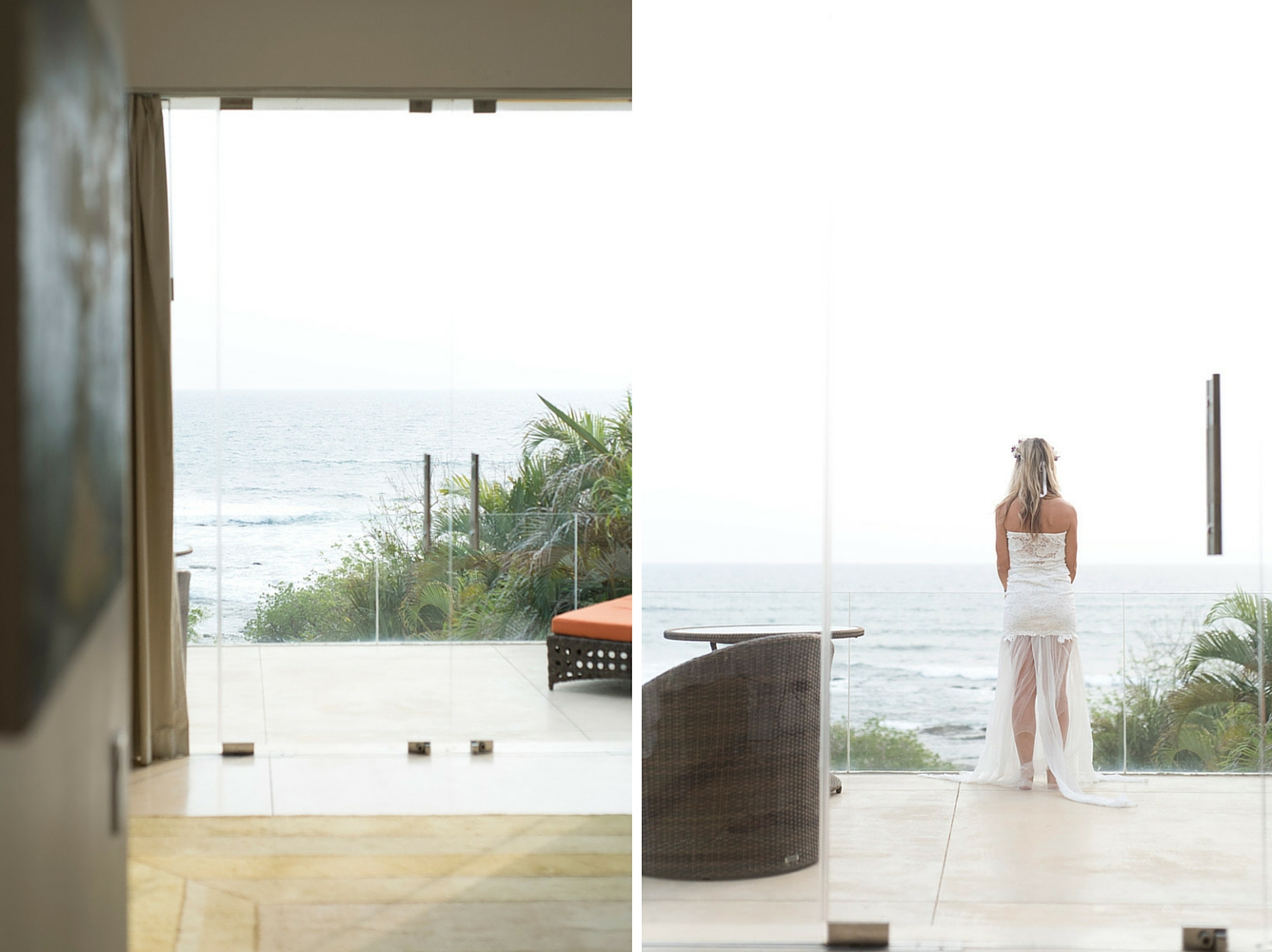 Bride looking out into the Pacific Ocean before wedding on Playa Langosta, Costa Rica. Photographed by Kristen M. Brown, Samba to the Sea Photography.