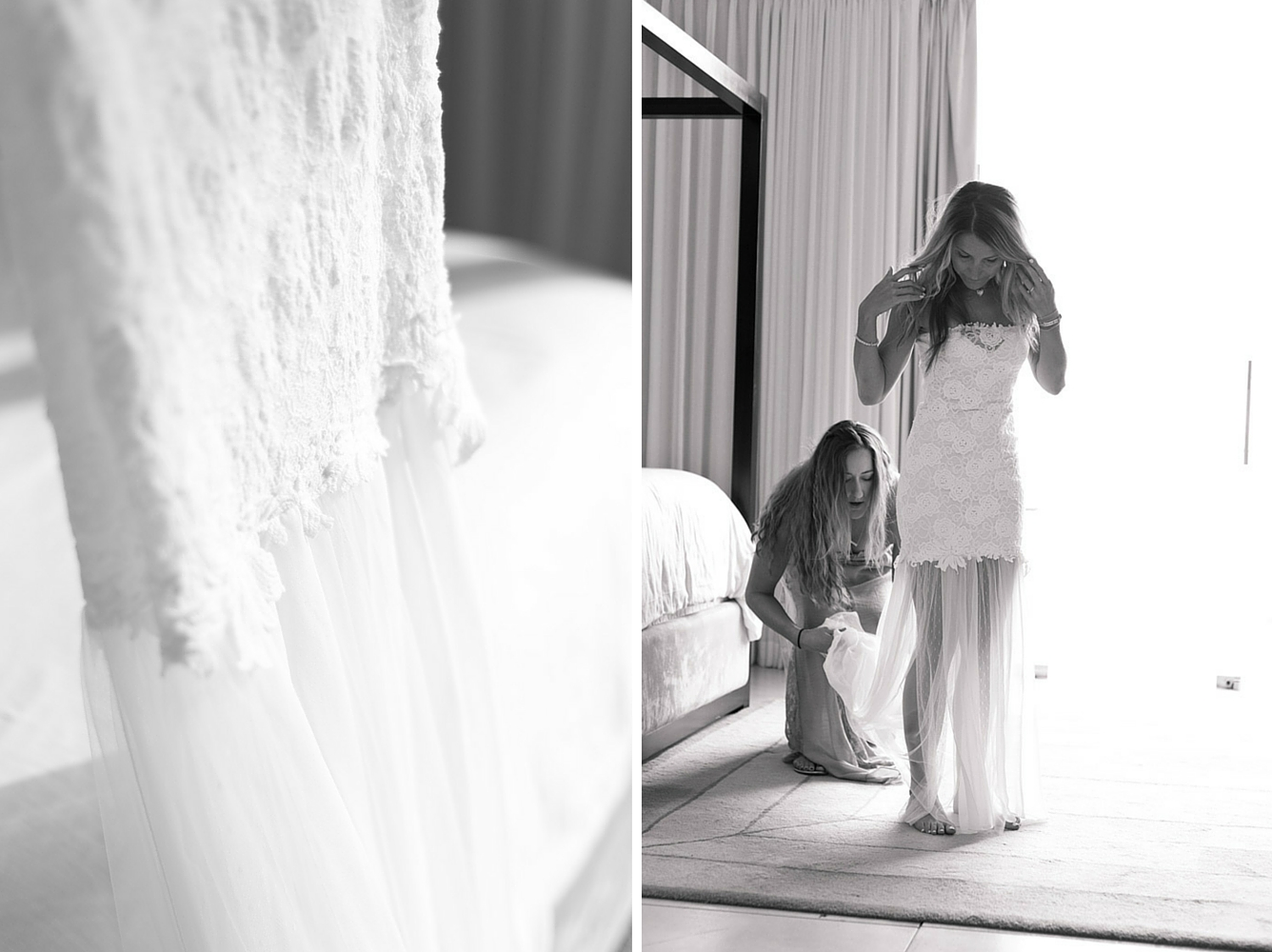 Black and white photo of bride putting on wedding dress at Casa Cristal in Playa Langosta, Costa Rica. Photographed by Kristen M. Brown, Samba to the Sea Photography.