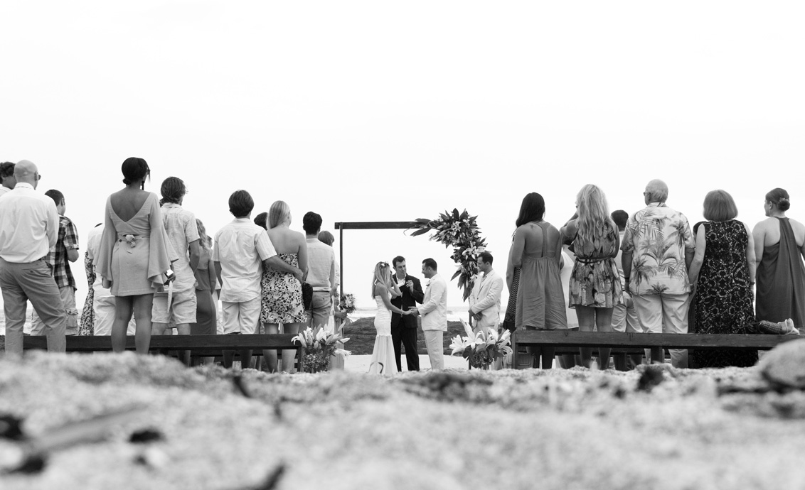 Black and white photo of wedding on Play Langosta, Costa Rica. Photographed by Kristen M. Brown, Samba to the Sea Photography.