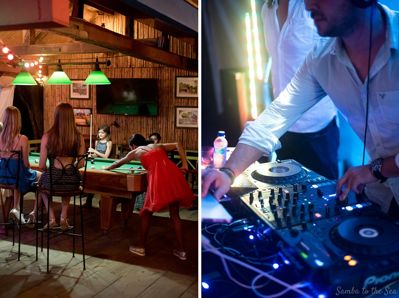 DJ AClass at Father Rooster in Costa Rica. Photographed by Kristen M. Brown, Samba to the Sea Photography.