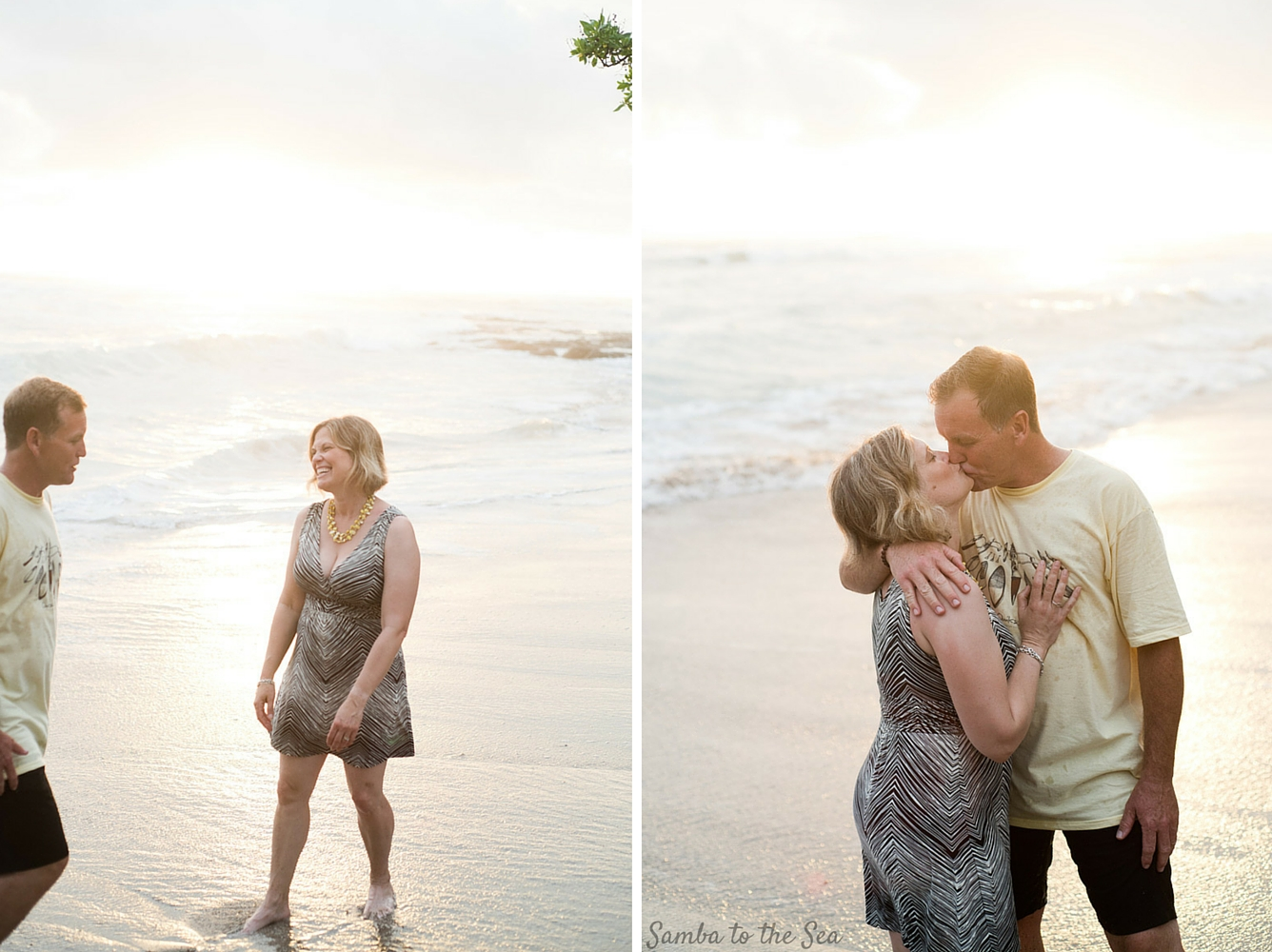 Couple on the beach at sunset in Costa Rica. Photographed by Kristen M. Brown, Samba to the Sea Photography.