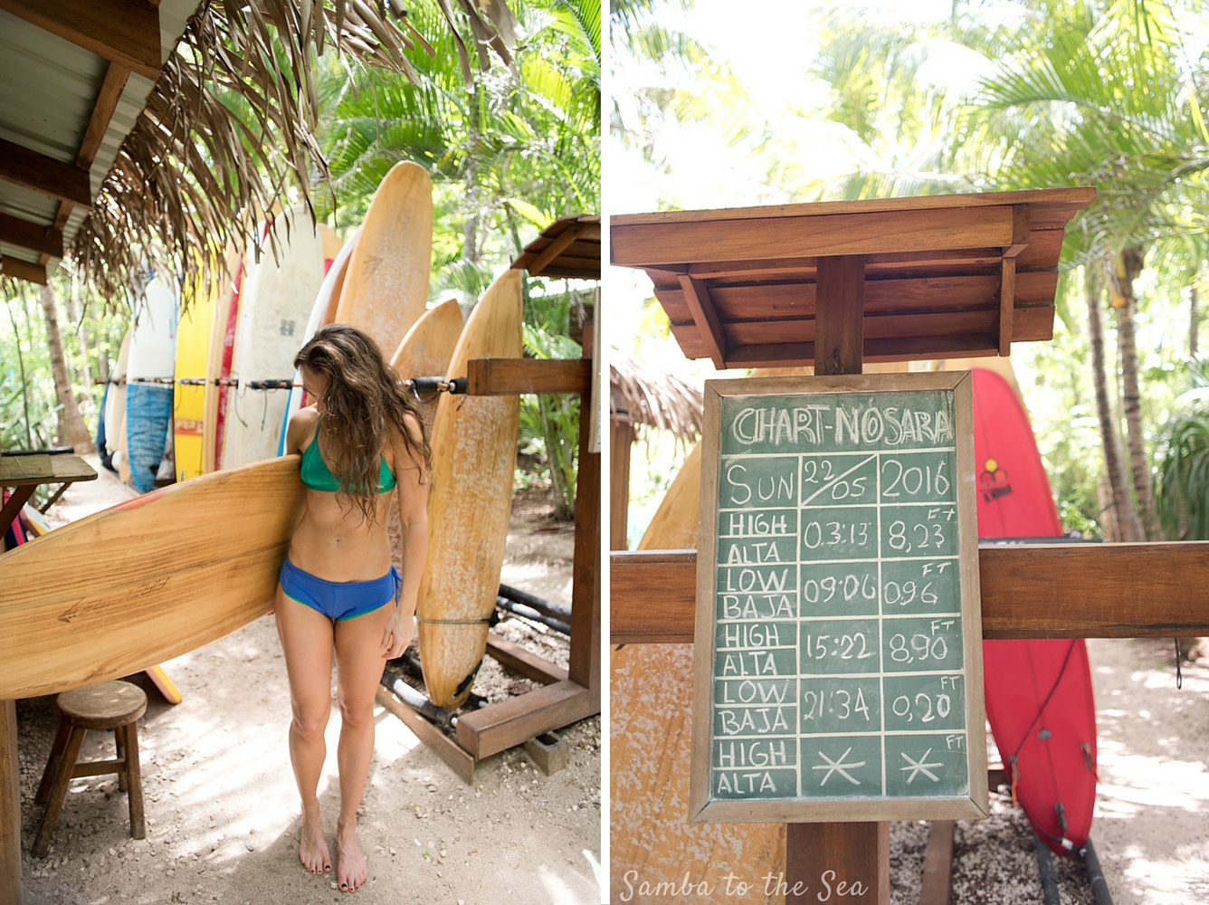 Kim (@_thesunnyside_) ready to head for a surf at Playa Guiones wearing her MI OLA surf bikini and her Firewire surfboard. Photographed at The Harmony Hotel in Nosara, Costa Rica by Kristen M. Brown, Samba to the Sea Photography.
