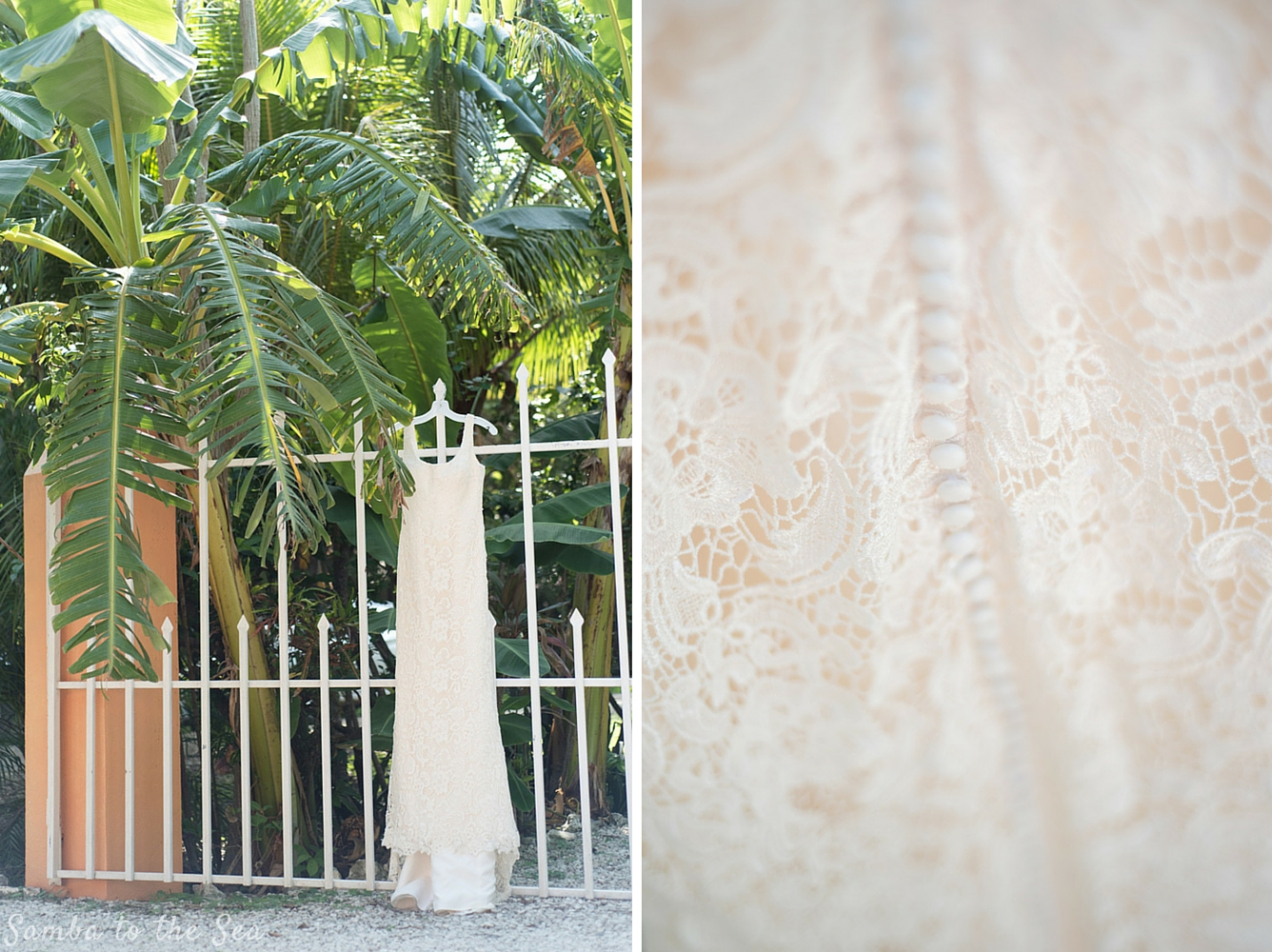 Wedding dress hanging at Teak Pacific Hotel in Nosara, Costa Rica. Photographed by Kristen M. Brown, Samba to the Sea Photography.