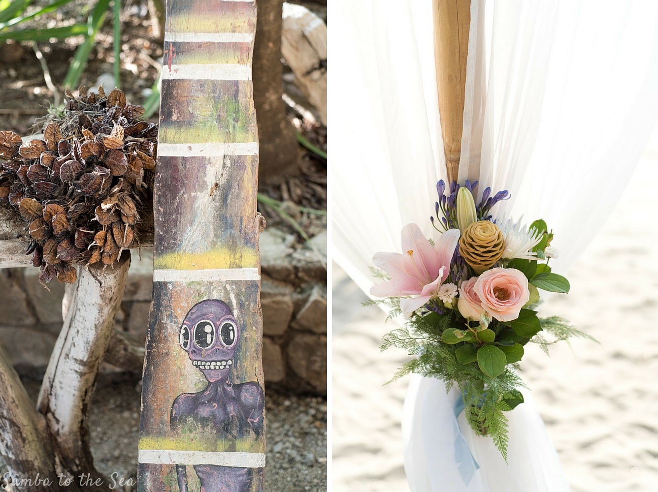Wedding detail by Weddings Nosara at La Luna Restaurant in Playa Pelada, Nosara, Costa Rica. Photographed by Kristen M. Brown, Samba to the Sea Photography.