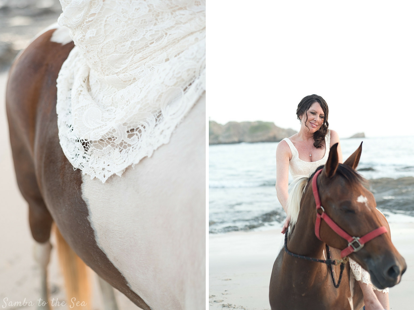 Bride sitting on horse after wedding in Nosara, Costa Rica. Photographed by Kristen M. Brown, Samba to the Sea Photography.