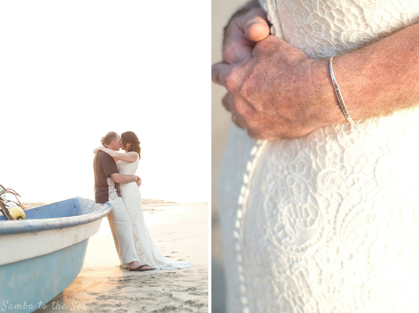 Bride and groom kissing on a panga boat after wedding in Nosara, Costa Rica. Photographed by Kristen M. Brown, Samba to the Sea Photography.