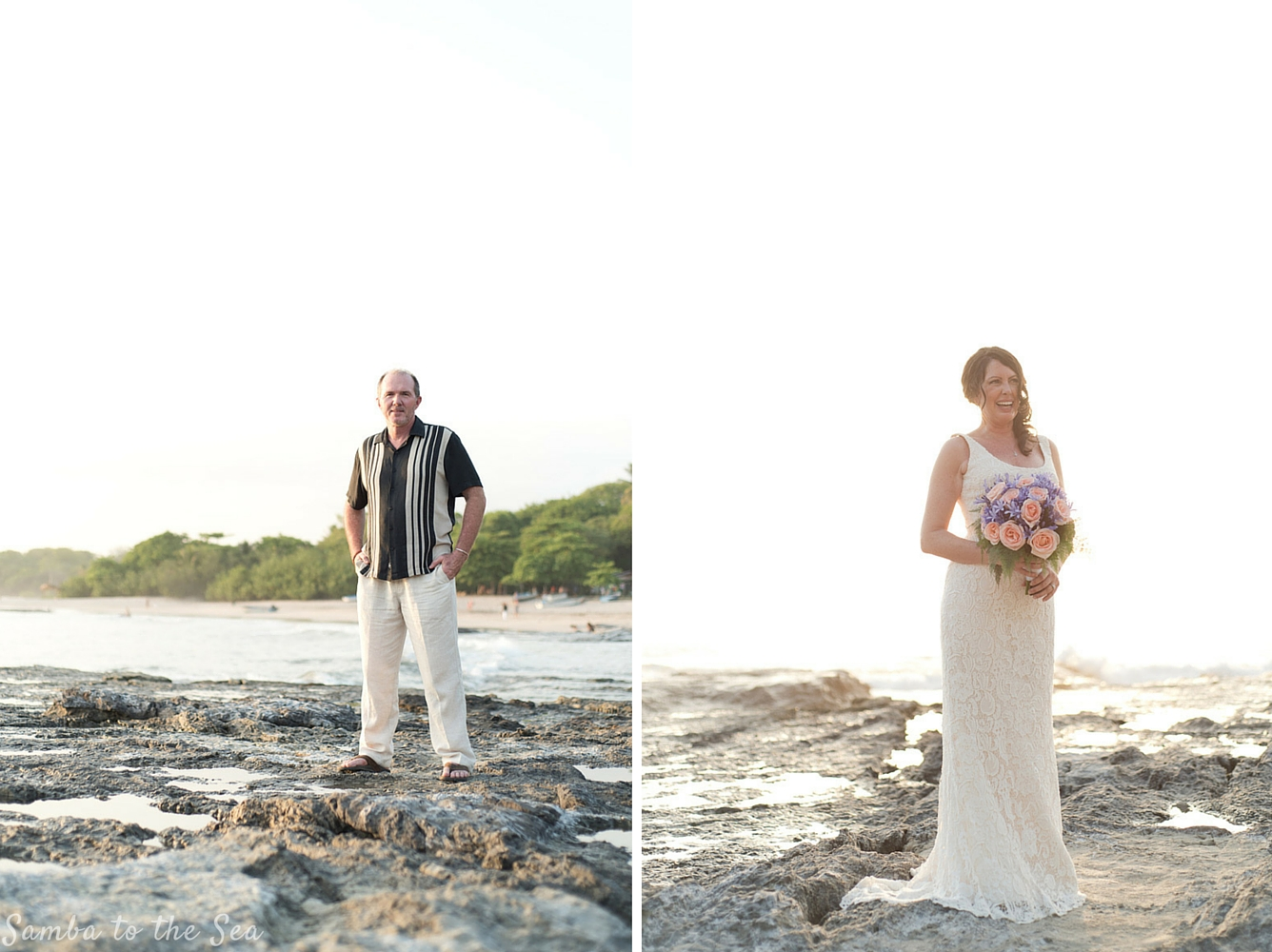 Bride and groom portraits on the beach in Playa Pelada in Nosara, Costa Rica. Photographed by Kristen M. Brown, Samba to the Sea Photography.